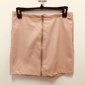 New zip front faux leather pencil skirt